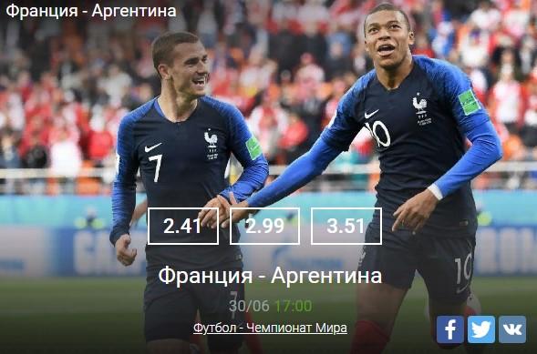 Франция - АргентинаСпорт, ставки