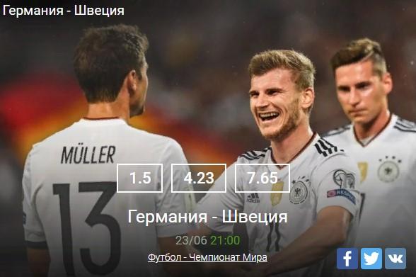Футбол Германия - ШвецияСпорт, ставки