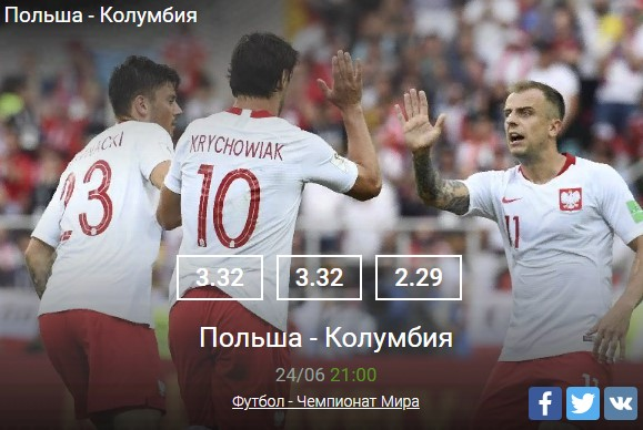 Польша - КолумбияСпорт, ставки