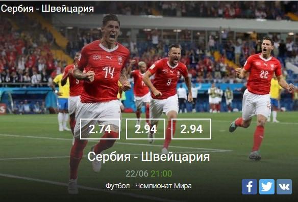 Сербия - ШвейцарияСпорт, ставки
