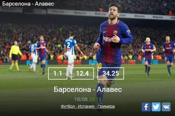 Барселона - Алавес Футбол - Испания - ПримераСпорт, ставки