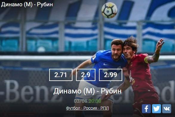 Динамо - РубинСпорт, ставки