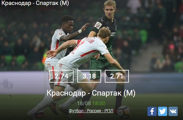 Краснодар - Спартак МоскваСпорт, ставки
