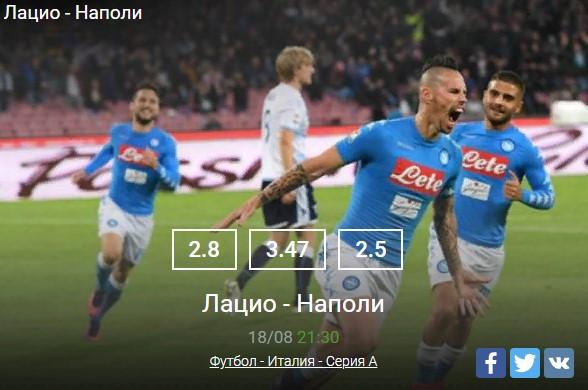 Лацио - Наполи Футбол - Италия - Серия AСпорт, ставки