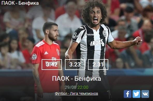 ПАОК - Бенфика 29.08Спорт, ставки
