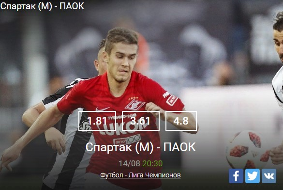 Спартак (М) - ПАОК 14.08Спорт, ставки