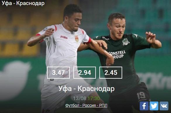 Уфа - Краснодар 13.08Спорт, ставки