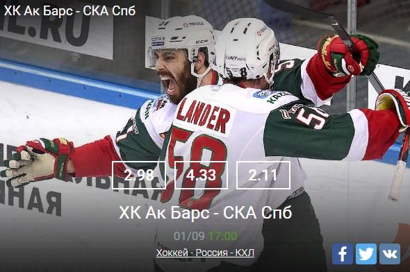 Ак Барс - СКА 01.09Спорт, ставки