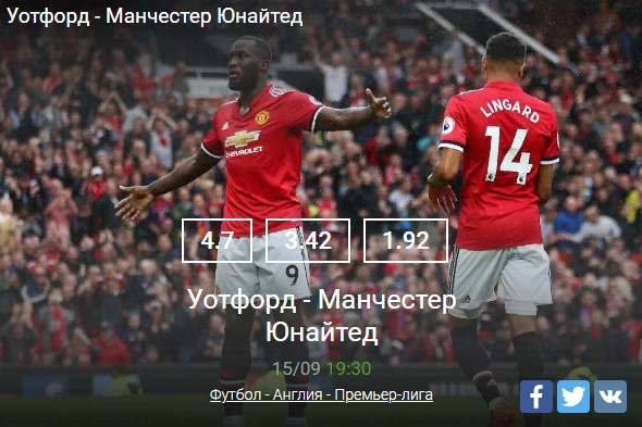 Уотфорд - Манчестер Юнайтед 15.09