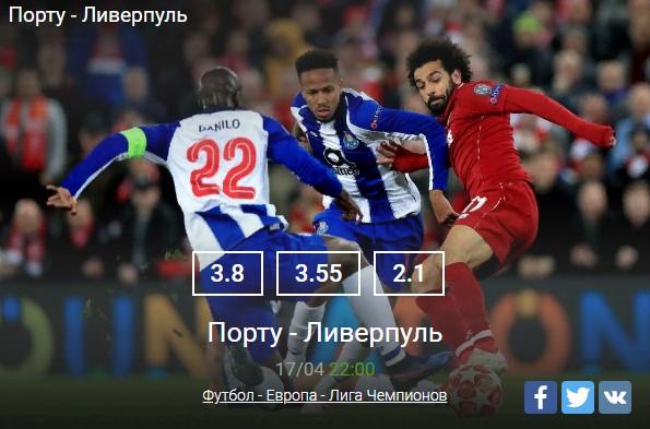 Футбол - Европа - Лига ЧемпионовСпорт, ставки