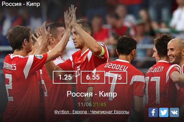 Россия – Кипр прогноз на матч 11 июня в 21:45Спорт, ставки