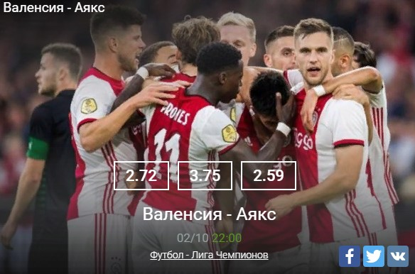 Прогноз на матч Валенсия – Аякс начало встречи 02 октября в 22:00Спорт, ставки