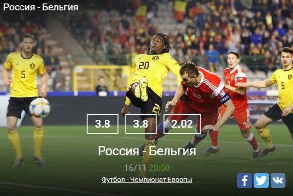 Прогноз на матч Россия–БельгияСпорт, ставки