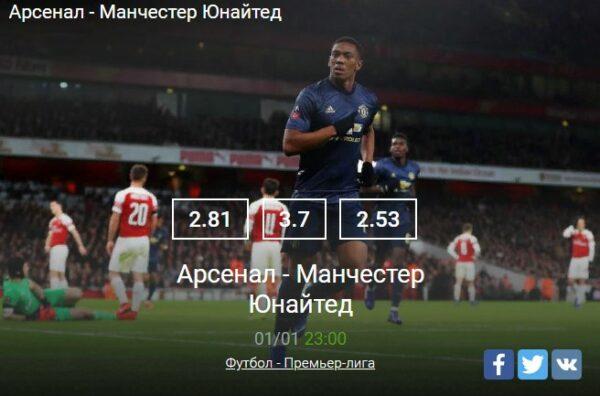 Прогноз на матч Арсенал – Манчестер Юнайтед