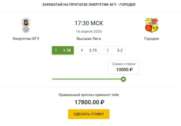 Энергетик БГУ–ФК Городея прогноз на матчСпорт, ставки
