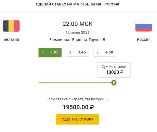 Россия - Бельгия вероятный исходСпорт, ставки